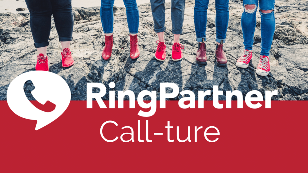 Ringpartner team feet and legs: Call-ture, image of phone.