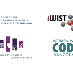 Joint statement on anti asian violence. Logos: Locelle, SCWIST, Women In Tech World, Immigrant and International Women In Science, iWist, Women Who Code Vancouver, SBN